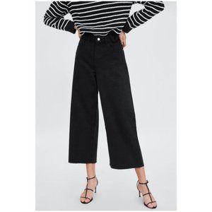 NWT Zara Women's Culotte High Rise Flared Leg Cropped Jeans in Black Size 0